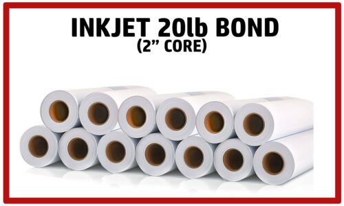 20lb Inkjet Bond Plotter Paper on 2″core